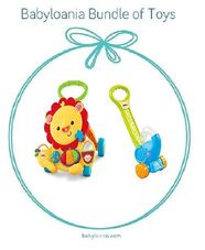 Gambar Bundle Of toys 9 : fisher price musical lion walker & fisher price pop n push elephant