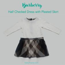 Gambar Burberry Half checked dress with pleated skirt detail